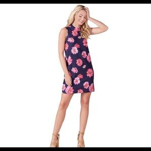 NWT Mud Pie shift dress navy and pink floral.